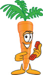 Clip Art Graphic of an Organic Veggie Carrot Mascot Character Holding and Pointing to a Red Phone