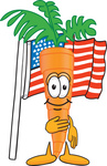 Clip Art Graphic of an Organic Veggie Carrot Mascot Character Standing in Front of an American Flag With One Hand on His Heart