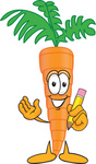 Clip Art Graphic of an Organic Veggie Carrot Mascot Character Holding a Pencil