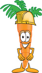 Clip Art Graphic of an Organic Veggie Carrot Mascot Character Wearing a Yellow Helmet Hardhat