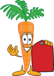 Clip Art Graphic of an Organic Veggie Carrot Mascot Character Holding a Red Price Tag
