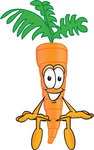 Clip Art Graphic of an Organic Veggie Carrot Mascot Character Seated