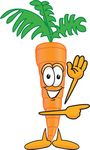 Clip Art Graphic of an Organic Veggie Carrot Mascot Character Waving and Pointing to the Right