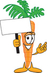 Clip Art Graphic of an Organic Veggie Carrot Mascot Character Holding up a Blank White Advertisement Sign