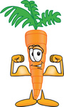 Clip Art Graphic of an Organic Veggie Carrot Mascot Character Showing Off His Strength While Flexing His Strong Bicep Arm Muscles