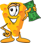 Clip Art Graphic of a Swiss Cheese Wedge Mascot Character Holding a Green Dollar Bill