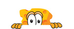 Clip Art Graphic of a Swiss Cheese Wedge Mascot Character Peeking Over a Surface