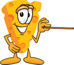 Clip Art Graphic of a Swiss Cheese Wedge Mascot Character Using a Pointer Stick