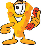 Clip Art Graphic of a Swiss Cheese Wedge Mascot Character Holding and Pointing to a Red Phone