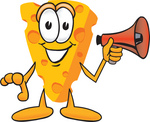 Clip Art Graphic of a Swiss Cheese Wedge Mascot Character Holding a Red Megaphone Bullhorn