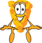 Clip Art Graphic of a Swiss Cheese Wedge Mascot Character Sitting