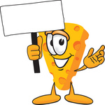 Clip Art Graphic of a Swiss Cheese Wedge Mascot Character Waving a Blank White Advertisement Sign
