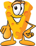 Clip Art Graphic of a Swiss Cheese Wedge Mascot Character Pointing Outwards at the Viewer