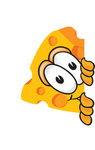 Clip Art Graphic of a Swiss Cheese Wedge Mascot Character Sneakily Peeking Around a Corner