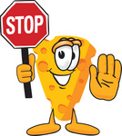 Clip Art Graphic of a Swiss Cheese Wedge Mascot Character Holding a Stop Sign