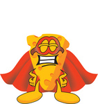 Clip Art Graphic of a Swiss Cheese Wedge Mascot Character in a Super Hero Cape and Mask