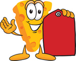 Clip Art Graphic of a Swiss Cheese Wedge Mascot Character Holding a Blank Red Sales Price Tag