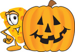 Clip Art Graphic of a Swiss Cheese Wedge Mascot Character Standing Beside a Carved Halloween Pumpkin