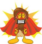Clip Art Graphic of a Chicken Drumstick Mascot Character Dressed as a Super Hero