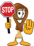 Clip Art Graphic of a Chicken Drumstick Mascot Character Holding a Stop Sign