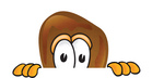 Clip Art Graphic of a Chicken Drumstick Mascot Character Peeking Over a Surface