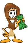 Clip Art Graphic of a Chicken Drumstick Mascot Character Holding a Dollar Bill