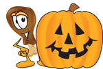 Clip Art Graphic of a Chicken Drumstick Mascot Character With a Carved Halloween Pumpkin
