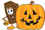 Clip Art Graphic of a Chocolate Candy Bar Mascot Character With a Carved Halloween Pumpkin