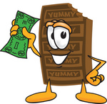 Clip Art Graphic of a Chocolate Candy Bar Mascot Character Holding a Dollar Bill