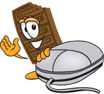 Clip Art Graphic of a Chocolate Candy Bar Mascot Character With a Computer Mouse