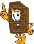 Clip Art Graphic of a Chocolate Candy Bar Mascot Character Pointing Upwards