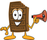 Clip Art Graphic of a Chocolate Candy Bar Mascot Character Holding a Megaphone