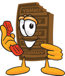 Clip Art Graphic of a Chocolate Candy Bar Mascot Character Holding a Telephone