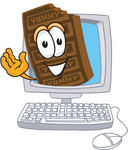Clip Art Graphic of a Chocolate Candy Bar Mascot Character Waving From Inside a Computer Screen