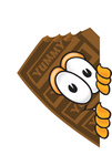 Clip Art Graphic of a Chocolate Candy Bar Mascot Character Peeking Around a Corner