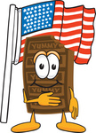 Clip Art Graphic of a Chocolate Candy Bar Mascot Character Pledging Allegiance to an American Flag