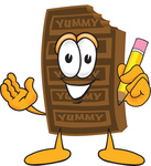 Clip Art Graphic of a Chocolate Candy Bar Mascot Character Holding a Pencil