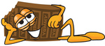 Clip Art Graphic of a Chocolate Candy Bar Mascot Character Resting His Head on His Hand
