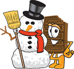 Clip Art Graphic of a Chocolate Candy Bar Mascot Character With a Snowman on Christmas
