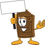 Clip Art Graphic of a Chocolate Candy Bar Mascot Character Holding a Blank Sign
