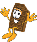 Clip Art Graphic of a Chocolate Candy Bar Mascot Character Jumping