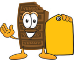 Clip Art Graphic of a Chocolate Candy Bar Mascot Character Holding a Yellow Sales Price Tag