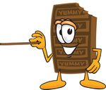 Clip Art Graphic of a Chocolate Candy Bar Mascot Character Holding a Pointer Stick