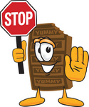 Clip Art Graphic of a Chocolate Candy Bar Mascot Character Holding a Stop Sign
