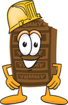 Clip Art Graphic of a Chocolate Candy Bar Mascot Character Wearing a Hardhat Helmet