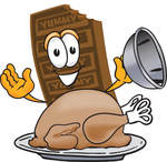 Clip Art Graphic of a Chocolate Candy Bar Mascot Character Serving a Thanksgiving Turkey on a Platter