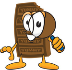 Clip Art Graphic of a Chocolate Candy Bar Mascot Character Looking Through a Magnifying Glass