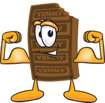 Clip Art Graphic of a Chocolate Candy Bar Mascot Character Flexing His Arm Muscles