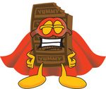 Clip Art Graphic of a Chocolate Candy Bar Mascot Character Dressed as a Super Hero