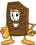 Clip Art Graphic of a Chocolate Candy Bar Mascot Character Pointing at the Viewer